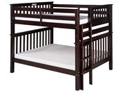 Santa Fe Mission Tall Bunk Bed Full over Full - Bed End Ladder - Cappuccino Finish