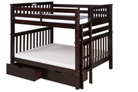 Santa Fe Mission Tall Bunk Bed Full over Full - Bed End Ladder - Cappuccino Finish - with Under Bed Drawers