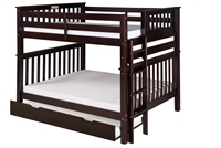 Santa Fe Mission Tall Bunk Bed Full over Full - Bed End Ladder - Cappuccino Finish - with Twin Size Under Bed Trundle