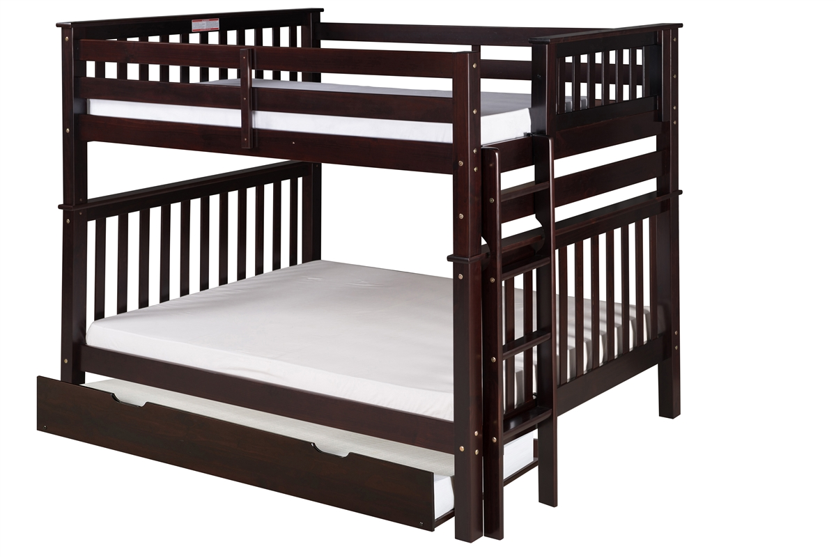 Picture of: Mission Tall Bunk Bed Full Over Full Bed End Ladder Cappuccino With Twin Size Under Bed Trundle