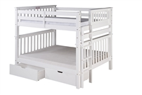 Santa Fe Mission Tall Bunk Bed Full over Full - Bed End Ladder - White Finish - with Under Bed Drawers