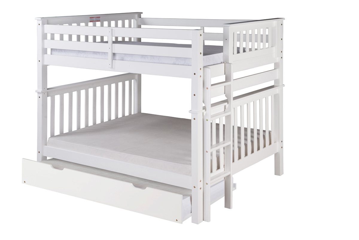 Picture of: Mission Tall Bunk Bed Full Over Full Bed End Ladder White With Twin Size Under Bed Trundle