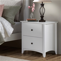 Shaker Style 2 Drawer Night Stand - White Finish
