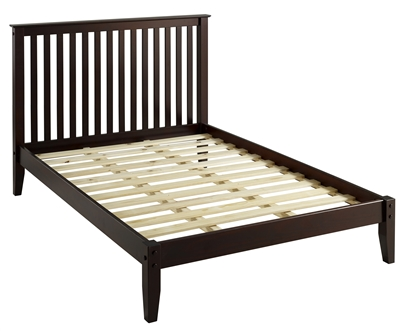 Shaker Style Mission Full Size Platform Bed - Cappuccino Finish