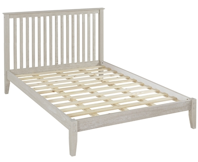 Shaker Style Mission Queen Size Platform Bed - Weathered White Finish