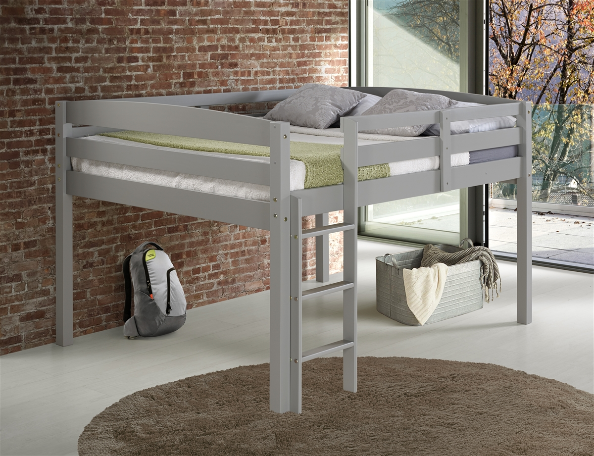 Twin Jr Loft Bed.Concord Twin Size Junior Loft Bed Grey Finish