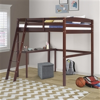 Concord Full Size High Loft Bed with Desk - Cappuccino Finish