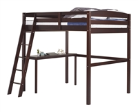 Tribeca Twin High Loft Bed with Desk Cappuccino