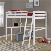 Concord Full Size High Loft Bed with Desk - White Finish