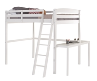 Concord Twin High Loft Bed with Desk White