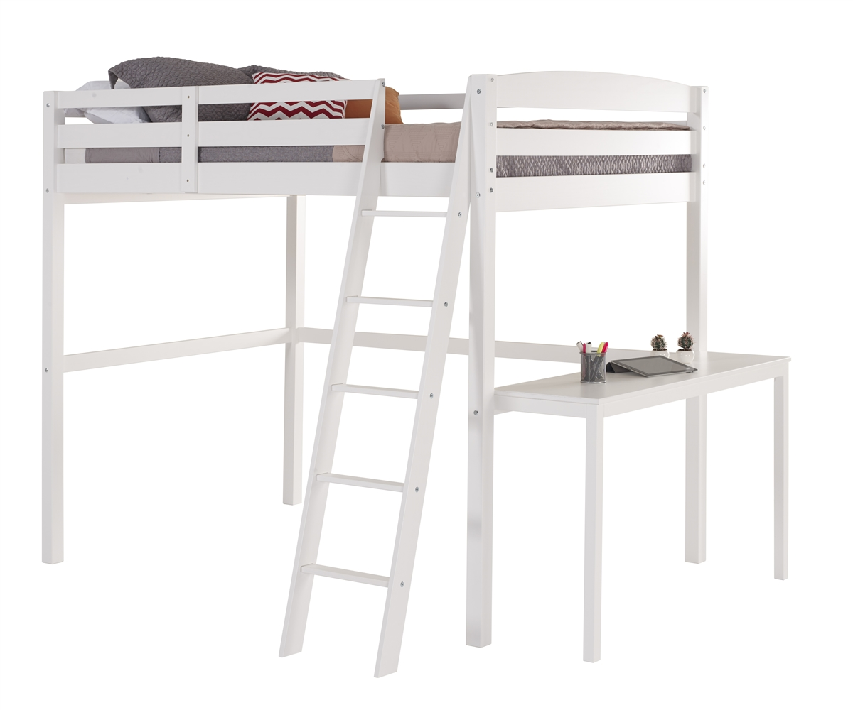 Picture of: Concord Twin High Loft Bed With Desk White