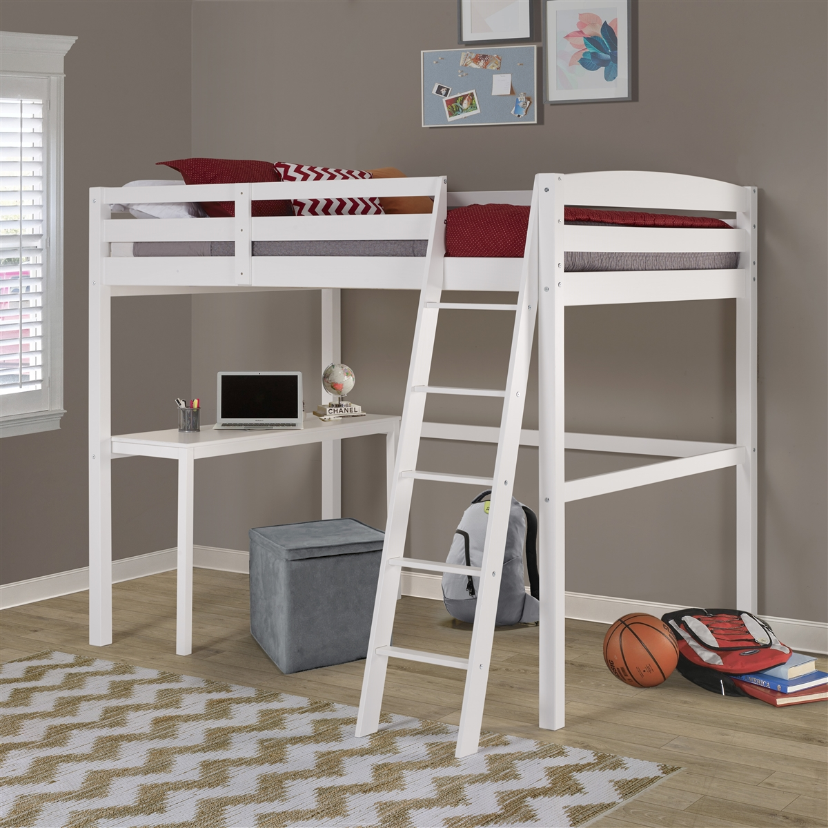Tribeca Twin Size High Loft Bed With Desk White Finish