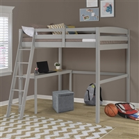 Concord Full Size High Loft Bed with Desk - Grey Finish