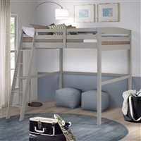 Concord Full Size High Loft Bed - Grey Finish