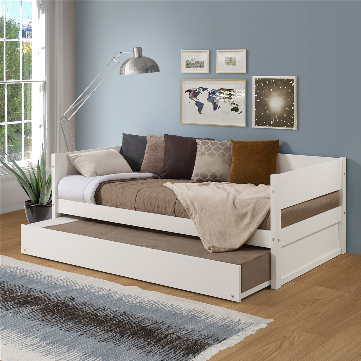 Concord Wood Panel Twin Size Daybed With Twin Trundle White Finish