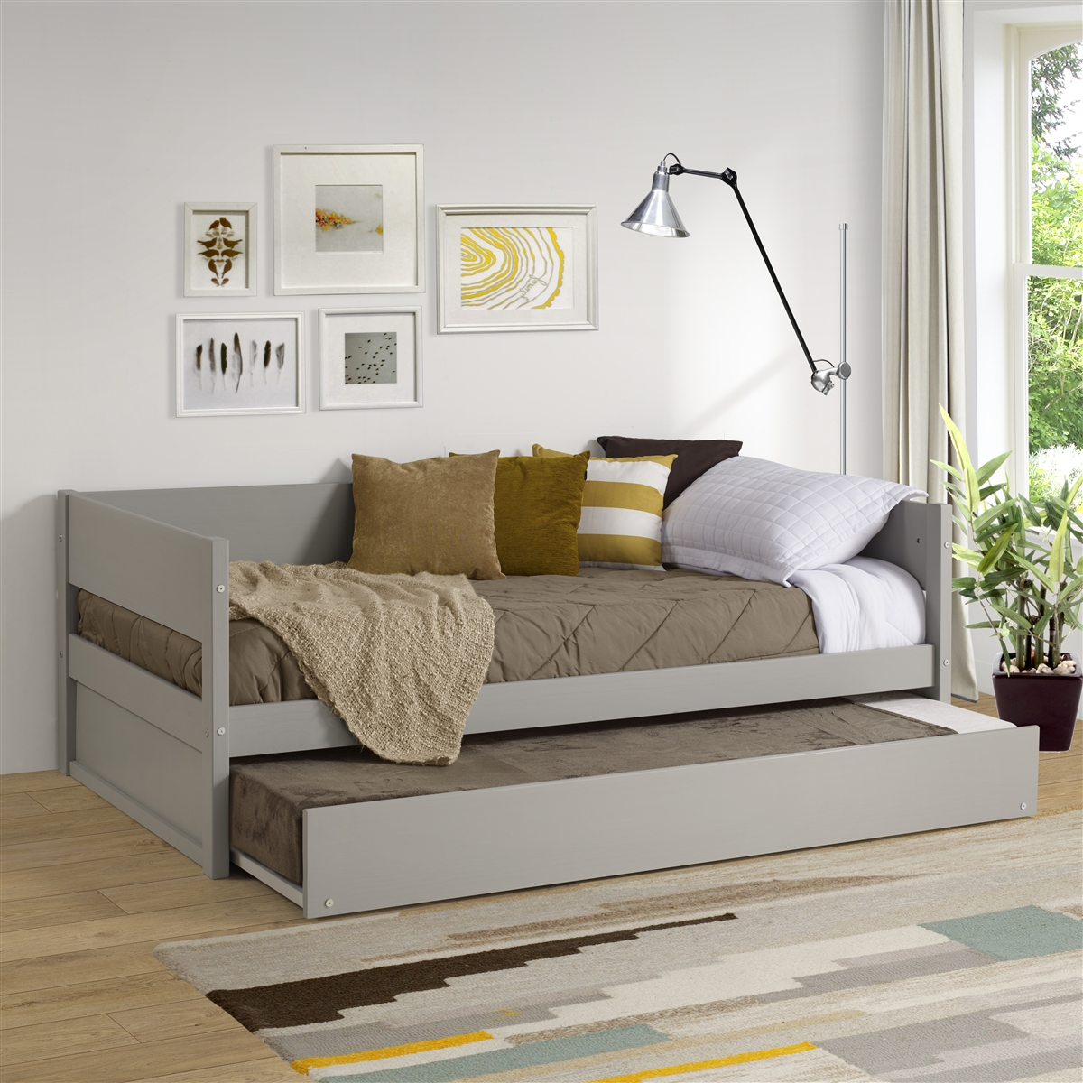 - Concord Wood Panel Twin Size Daybed - With Twin Trundle - Grey