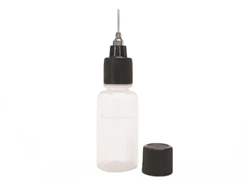Top-of-the-line ORa henna applicator bottle.  Choose your size ORa metal tip and your size soft squeeze henna bottle for creating finely controlled henna lines for henna tattoos.