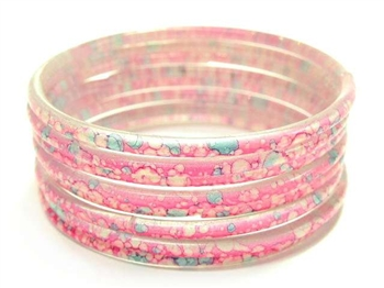 Thick Bright Pink Indian GLASS Bracelets Build-A-Bangle XL 2.12