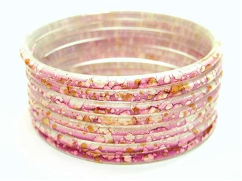 Thick Orchid Lavender Indian GLASS Bracelets Build-A-Bangle XL 2.12