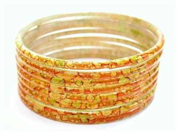 Thick Orange Indian GLASS Bracelets Build-A-Bangle XL 2.12