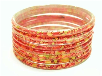 Thick Red Indian GLASS Bracelets Build-A-Bangle XL 2.12