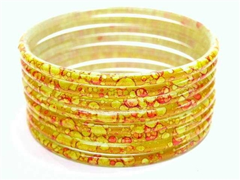 Thick Golden Yellow Indian GLASS Bracelets Build-A-Bangle XL 2.12