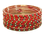 Bright red glass bangles from our Prism Collection.