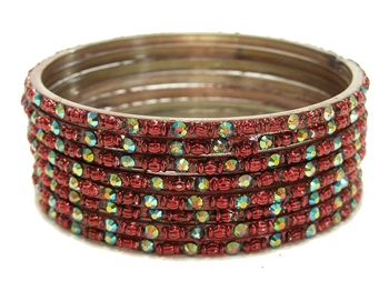 Maroon burgundy dark red glass bangles from our Prism Collection.