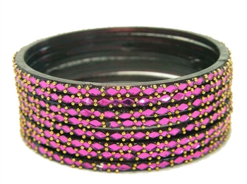 Vivid purple glass bangles from our Prism Collection.