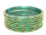 Aqua green glass bangles from our Prism Collection.