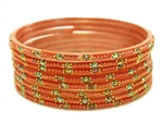 Rust orange glass bangles from our Prism Collection.