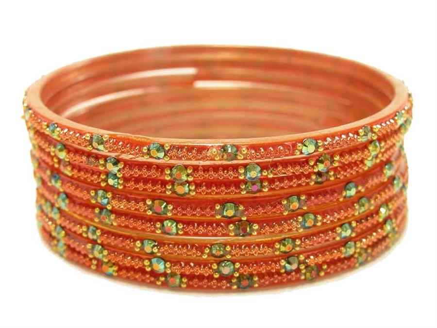 Orange Indian Glass Bangles