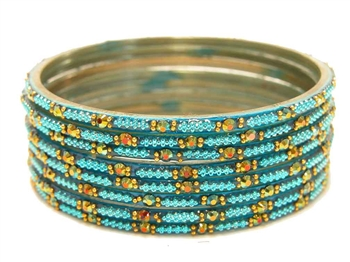 Bright cyan turquoise blue glass bangles from our Prism Collection.