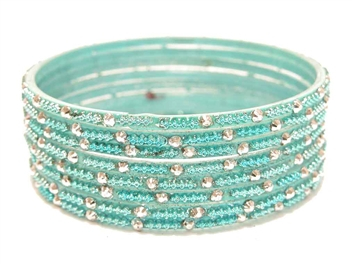 Light turquoise blue glass bangles with silver accents from our Prism Collection.