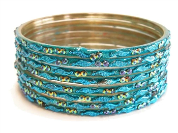 Light turquoise blue glass bangles from our Prism Collection.