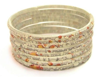Thick Gray Indian GLASS Bracelets Build-A-Bangle XL 2.12