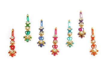 Sparkling bold bindi in red, green, blue and more.
