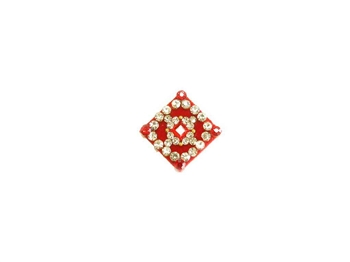 Large square or diamond red bindi covered with sparkling crystals.