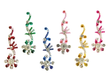 Pack of nice sized long bindi in a cute flower design. Bright rainbow colors are accented with silver and white crystals.