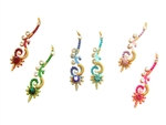 Fancy bindi style in a rainbow of colors with crystal accents.