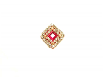 Large square or diamond silver and fuchsia pink bindi covered with sparkling crystals.