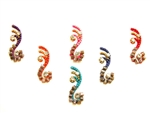A selection of rainbow bindi with smokey beaded accents and crystal accents.