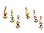 Curvy bindi in a rainbow of colors with white crystal, pearl, a and gold accents.