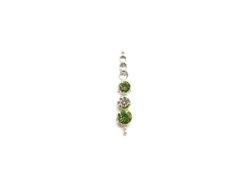 single silver bindi with olive green crystals.