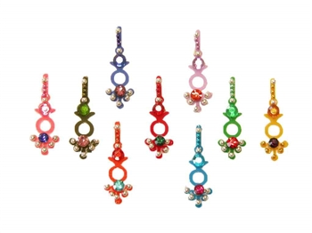 A selection of multi colored bindi with contrasting rainbow crystals.