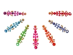 Brightly rainbow color bindi with matching accents.