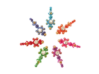 A rainbow of bindi with white crystal accents.
