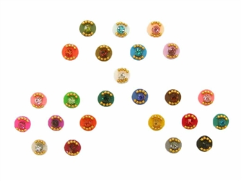 A rainbow of felt dots with gold micro beads and crystal accents.