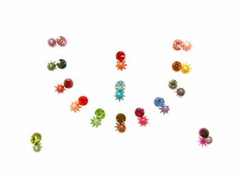 A range of colors with matching pearls and crystals.