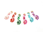 Bright rainbow colors with matching crystals in a lovely curvy bindi  style.